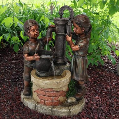 Outdoor Water Fountain Jack and Jill at Farmhouse Pump and Well