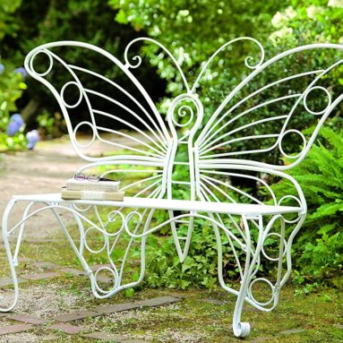 Outdoor Weather-Resistant Metal Butterfly Bench
