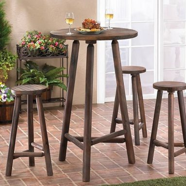 Patio Furniture  Bistro Set Water Resistant Wooden Bar