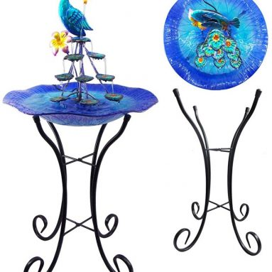 Peacock Water Fountain Tabletop Garden Decor