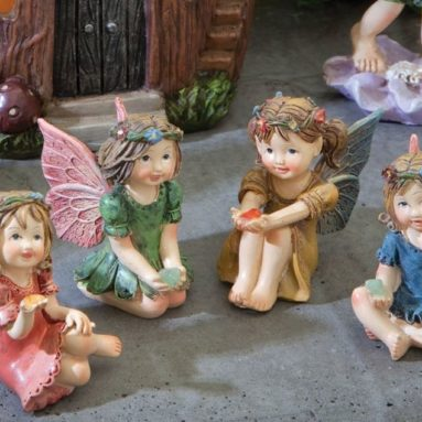 Set of Four Adorable Hand Painted Winged Fairies