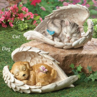 Sleeping Pet Guardian Angel Wings Statue