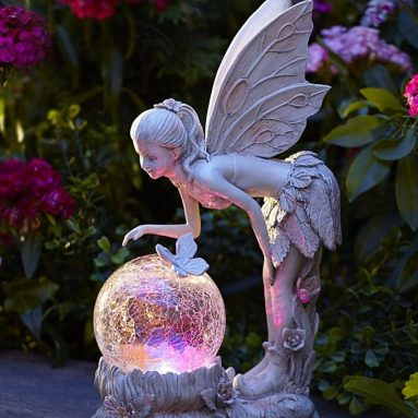 Solar Color-Changing LED Light Standing Pixie with Globe
