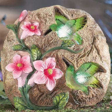 Solar Hummingbird Decorative Garden Stone