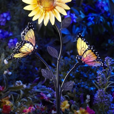 Solar-Powered Butterfly and Sunflower Garden Brighter White LED Stake Light