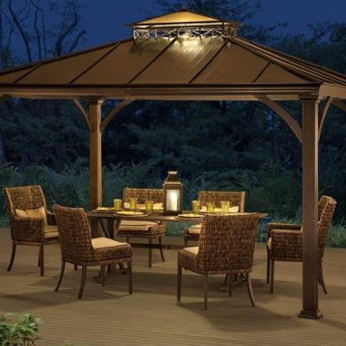 Two-Tier Hardtop Gazebo, Matt Black Poles and Frame with Rich Brown Proof