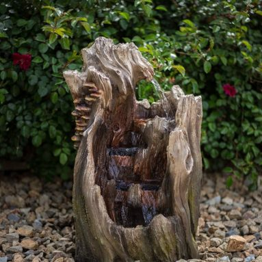 Walnut Log Indoor/Outdoor Garden Fountain